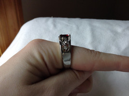 Red CZ Stone with Cutout Design Stainless Steel Ring Size 8.5 image 6