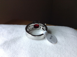 Red CZ Stone with Cutout Design Stainless Steel Ring Size 8.5 image 3