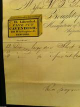 Antique Receipt 1859 Lilienthal Cavendish Tobacco 219 Washington St. NYC image 6