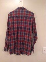 Red Blue Yellow Trails End Flannel Button Up Long Sleeve Shirt Pockets Size L image 4