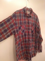 Red Blue Yellow Trails End Flannel Button Up Long Sleeve Shirt Pockets Size L image 3