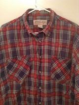 Red Blue Yellow Trails End Flannel Button Up Long Sleeve Shirt Pockets Size L image 2