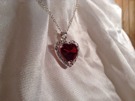 Red CZ Stone Heart with White Stone Accents Pendant Silver Necklace image 4