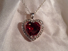 Red CZ Stone Heart with White Stone Accents Pendant Silver Necklace image 5