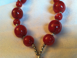 Red Cherry and Chocolate Swirl Beaded Necklace and Large Round Pendant image 3