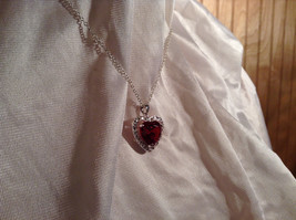 Red CZ Stone Heart with White Stone Accents Pendant Silver Necklace image 3