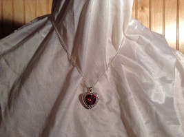 Red CZ Stone Heart with White Stone Accents Pendant Silver Necklace image 2