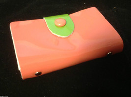 Summer fun colors credit card wallet in peach pink w green yellow accents