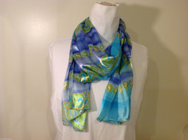"Summer Sheer and Solid Striped Blue Green Wave Pattern Scarf, 59"" Long"