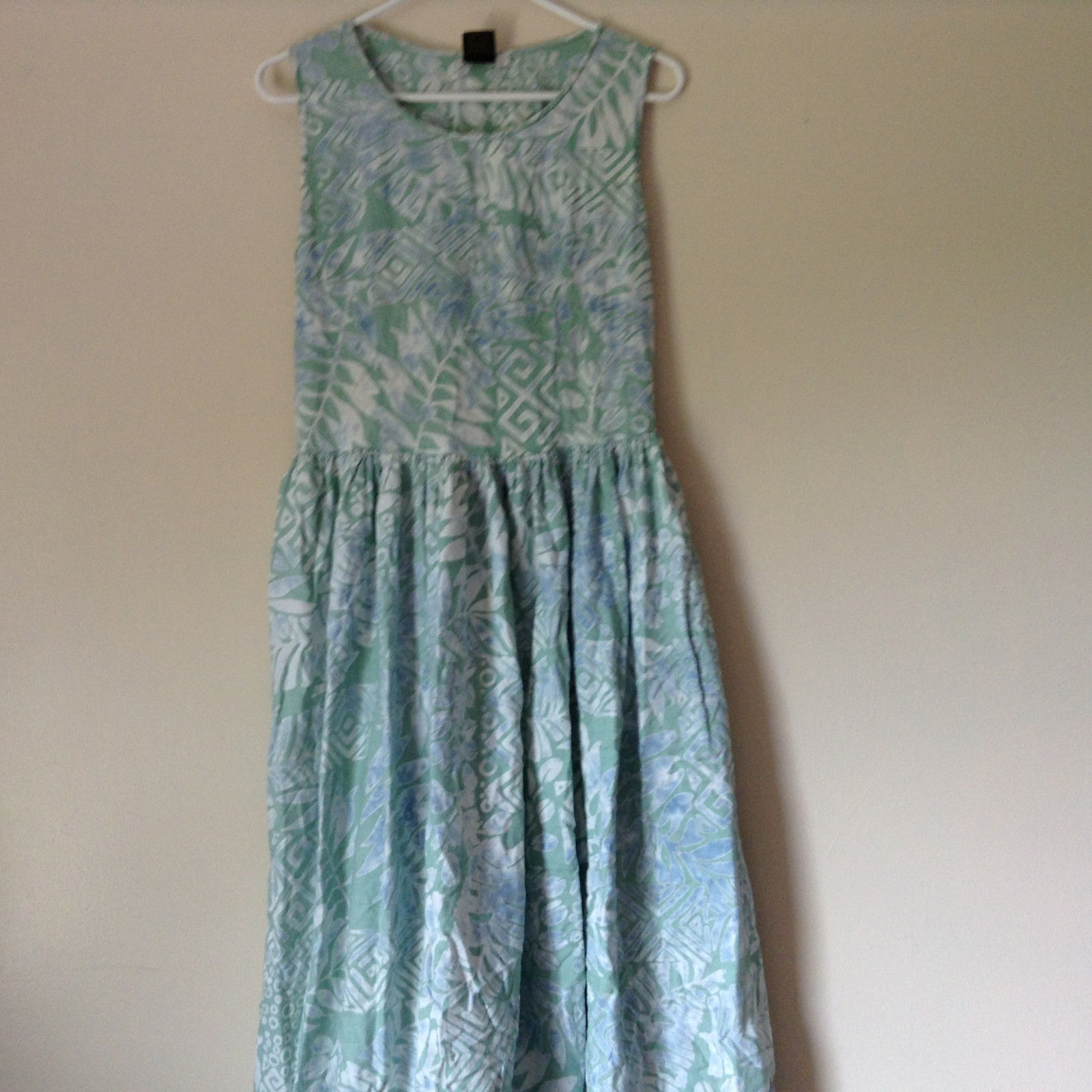 Summer Dress by Jing Jor Handmade Light Green Blue White Design Large batik