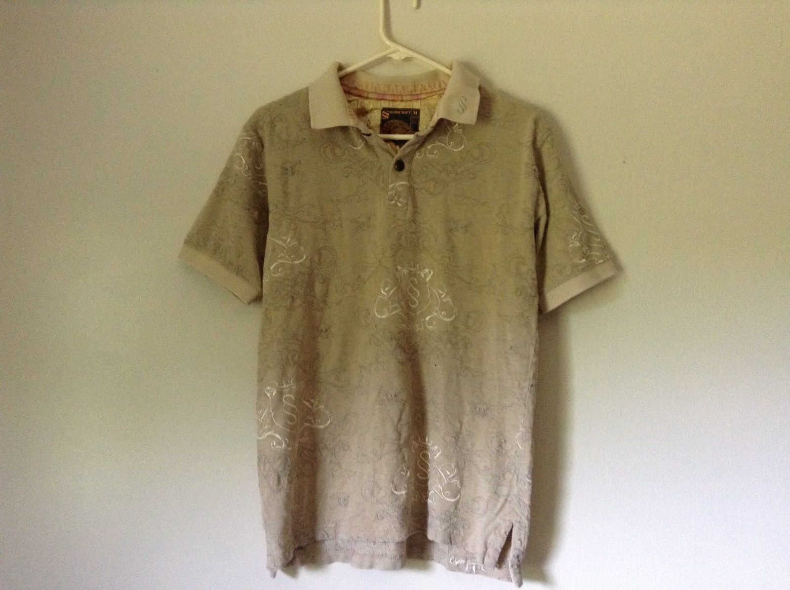 Subscript Polo Short Sleeve Size M Tan Light Brown Shirt Stitched on Design