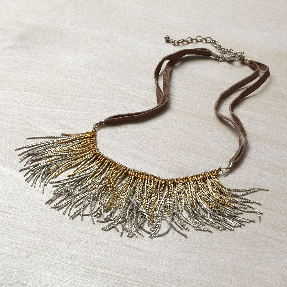 Suede w fringe gold and silver tone chain necklace