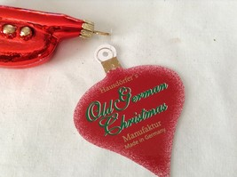 Red Trumpet w Gold Glitter Glass Ornament Old German Christmas image 3