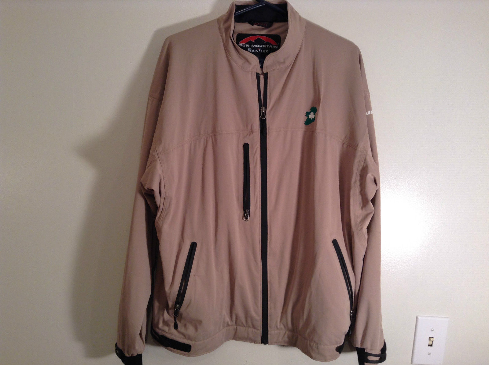 Sun Mountain Rain Flex Lined Jacket Tan Size XL Ireland Logo