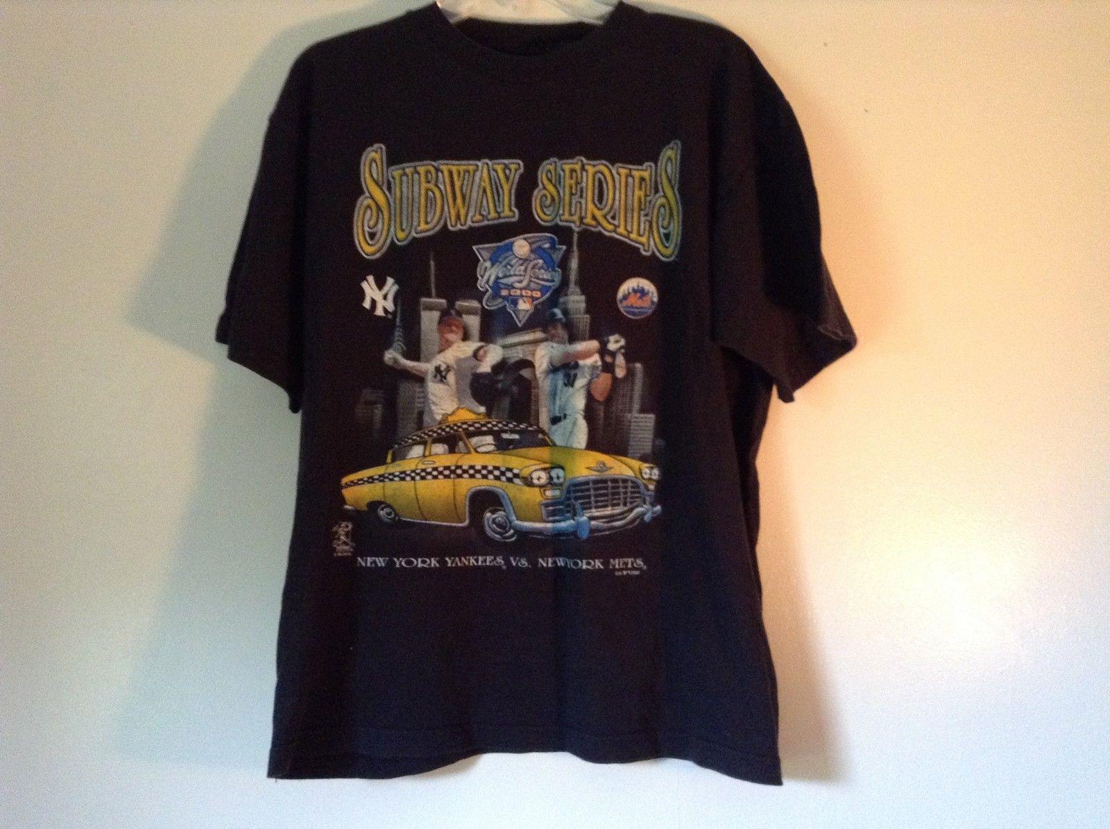 Subway Series Black T Shirt NY Yankees VS NY Mets World Series 2000 Size Large