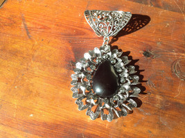 Stylish Oval Shaped Black Stone and Crystals Silver Tone Scarf Pendant - $39.99