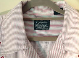Red White Striped 4 Front Pocket Button Down Short Sleeve Shirt Size XL Haband image 3