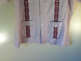 Red White Striped 4 Front Pocket Button Down Short Sleeve Shirt Size XL Haband image 4