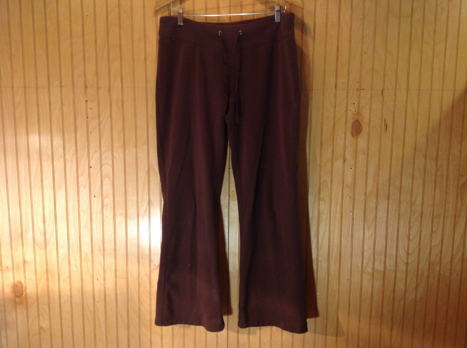 TEK GEAR Brown Comfort Pants with String Expandable Waist Size L No Pockets