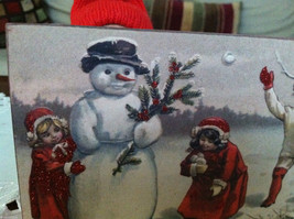 Red Wooden Box Christmas winter Sign of Vintage Snowman w playing  Kids image 3