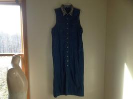 TY Original Wear Maxi Sleeveless Denim Dress Cheetah Print on Collar Size 14