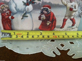 Red Wooden Box Christmas winter Sign of Vintage Snowman w playing  Kids image 7