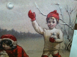 Red Wooden Box Christmas winter Sign of Vintage Snowman w playing  Kids image 5