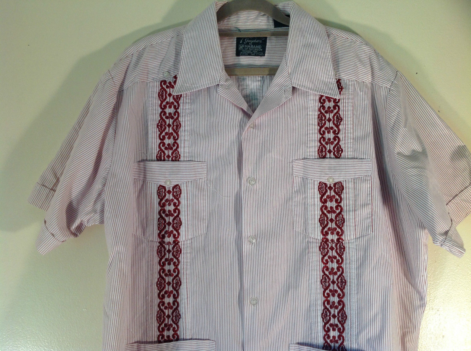 Red white striped 4 front pocket button down short sleeve for Red and white striped button down shirt