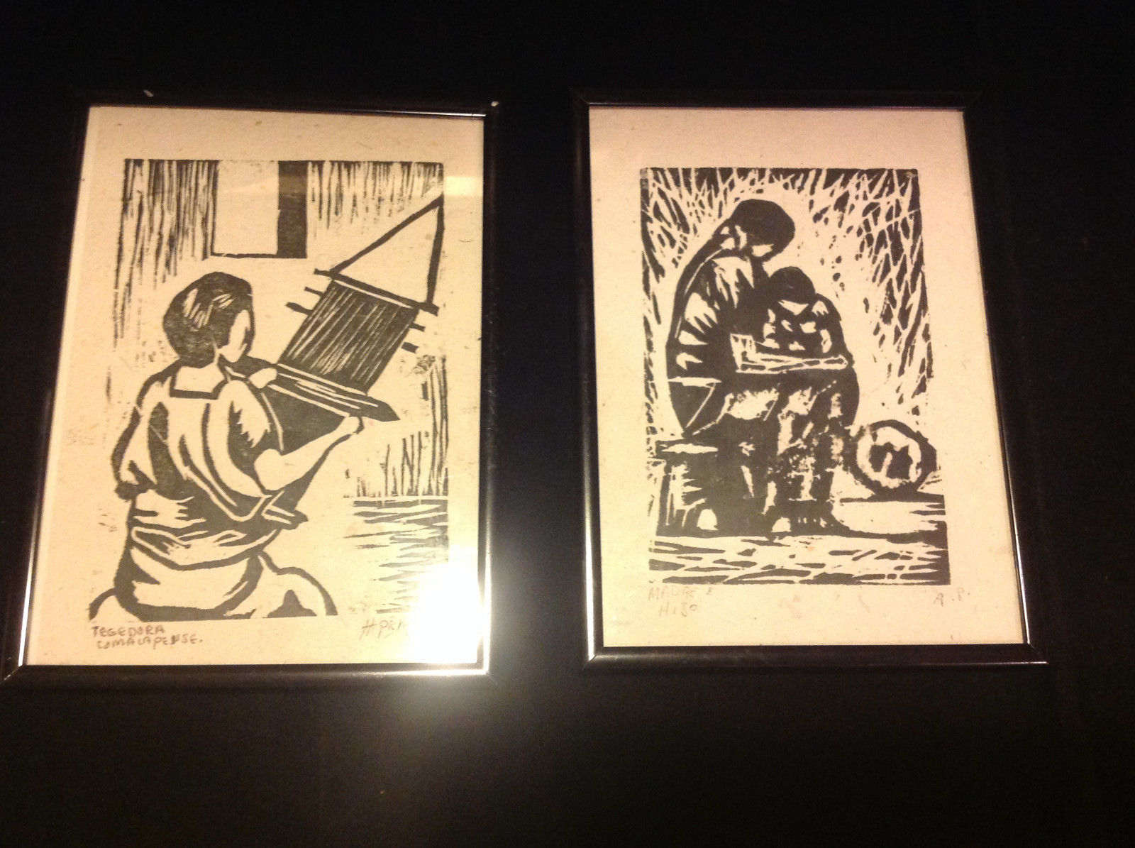 TWO Original Wood cut block prints Black Frames Guatemalan Artist