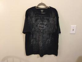 Superman Black with Gray Design 100% cotton Crew Neck T-Shirt, Size XL