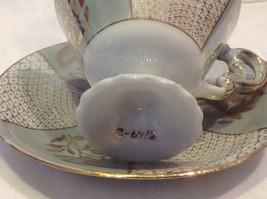 Antique cup saucer lt blue pedestal w florals scale gold trim National Potteries image 4