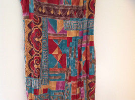 Red Teal Gold Brown Sleeveless Geometric Pattern Long Length Dress WNY Size 8 image 3