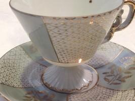 Antique cup saucer lt blue pedestal w florals scale gold trim National Potteries image 5
