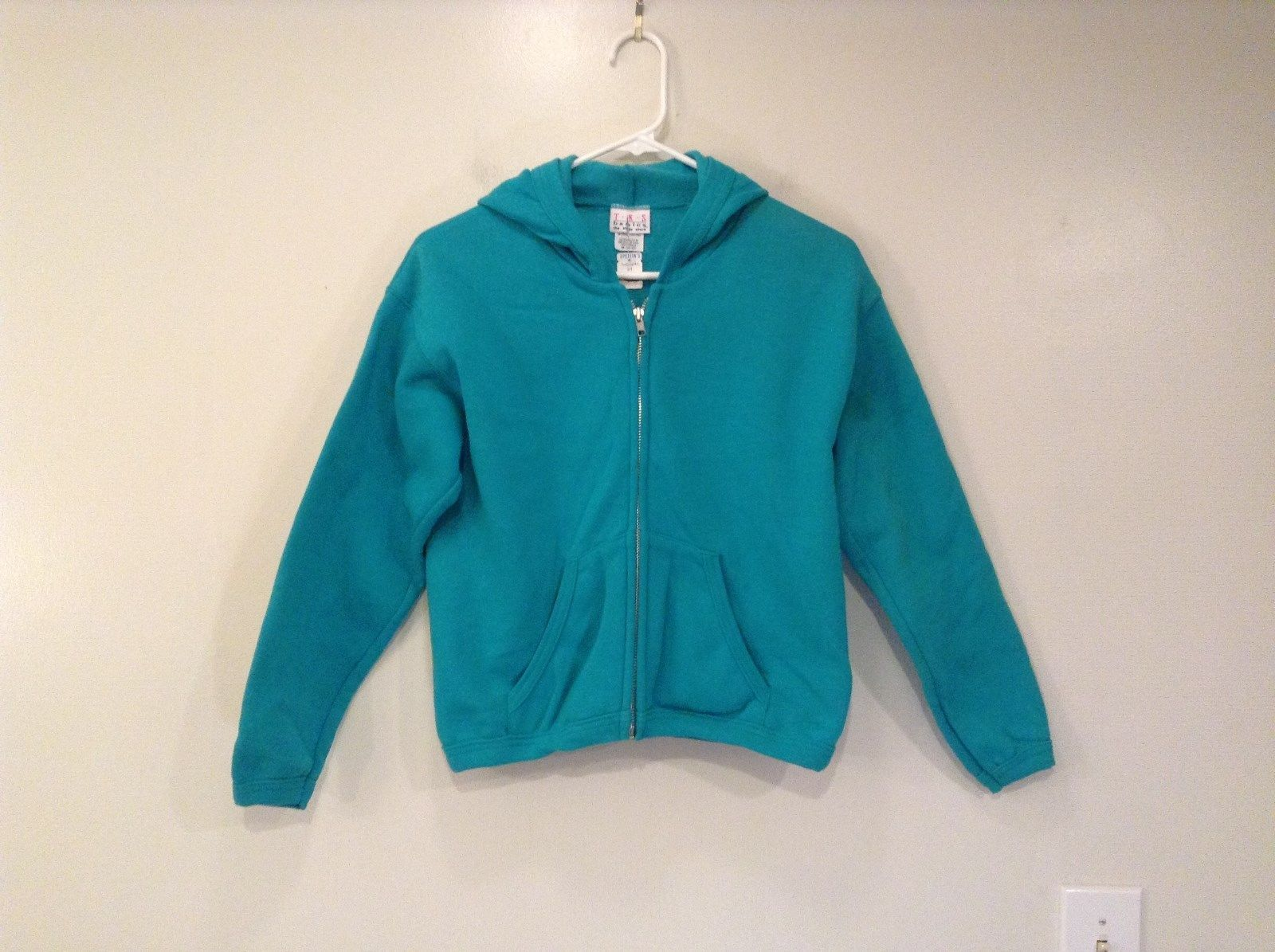 TKS Green Blue Hooded Sweatshirt Front Zipper Front Pockets Size M 10 to 12