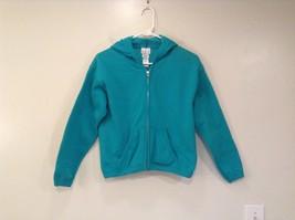 TKS Green Blue Hooded Sweatshirt Front Zipper Front Pockets Size M 10 to 12