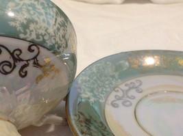Antique cup saucer jade pedestal w scroll flourish gold trim National Potteries image 3