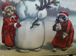 Red Wooden Box Christmas winter Sign of Vintage Snowman w playing  Kids image 4