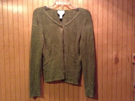 Talbots Dark Green Long Sleeve V-Neck Sweater Women Size M Made in Italy