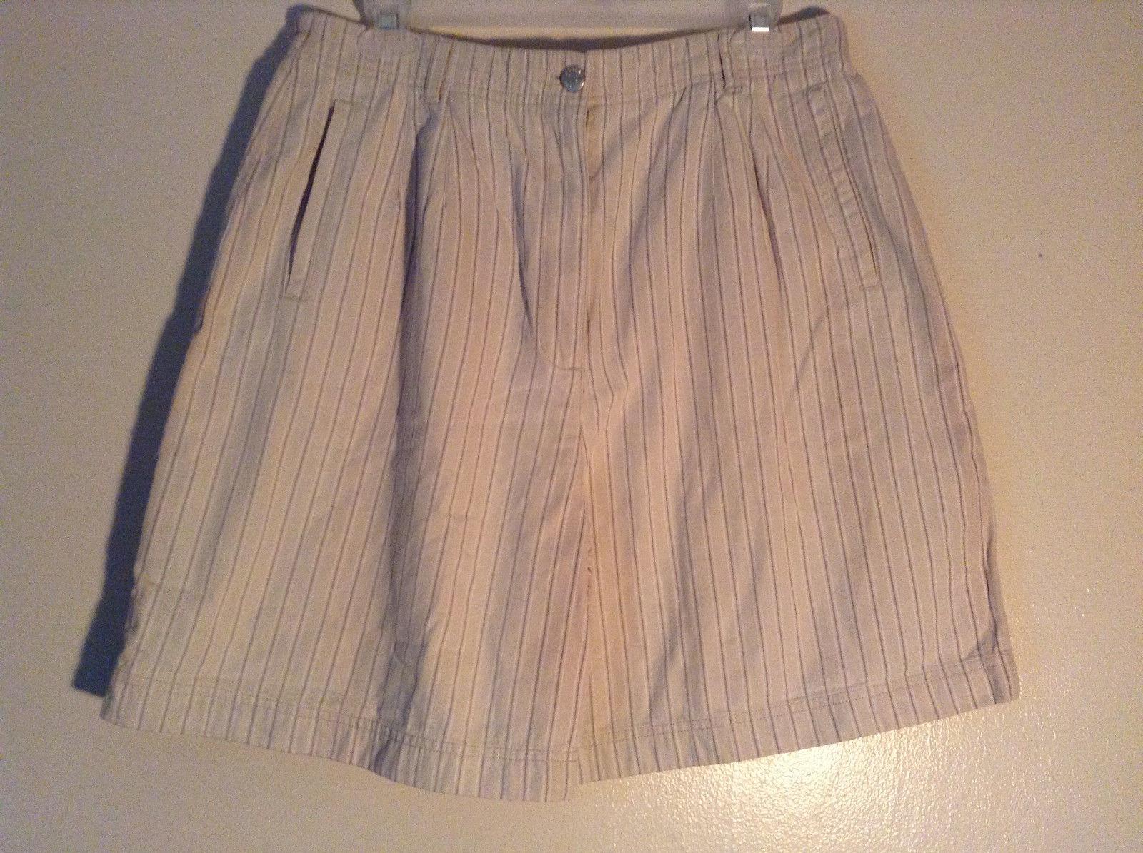 Susan Bristol Casuals Whtie Brown Beige Striped Shorts Pockets Size 14