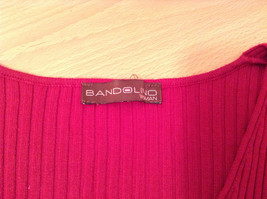 Red Stretchy V Neck Sweater Bandolino Snap Decorations on Sleeves No Size Tag image 8