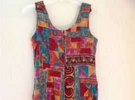 Red Teal Gold Brown Sleeveless Geometric Pattern Long Length Dress WNY Size 8 image 8