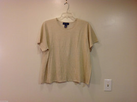 Susan Graver Beige with Gold Hue Short Sleeve Top Blouse T-shirt, Size 2X