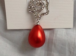 Swarovski  Silver tone crystal clear flower red dangling pin