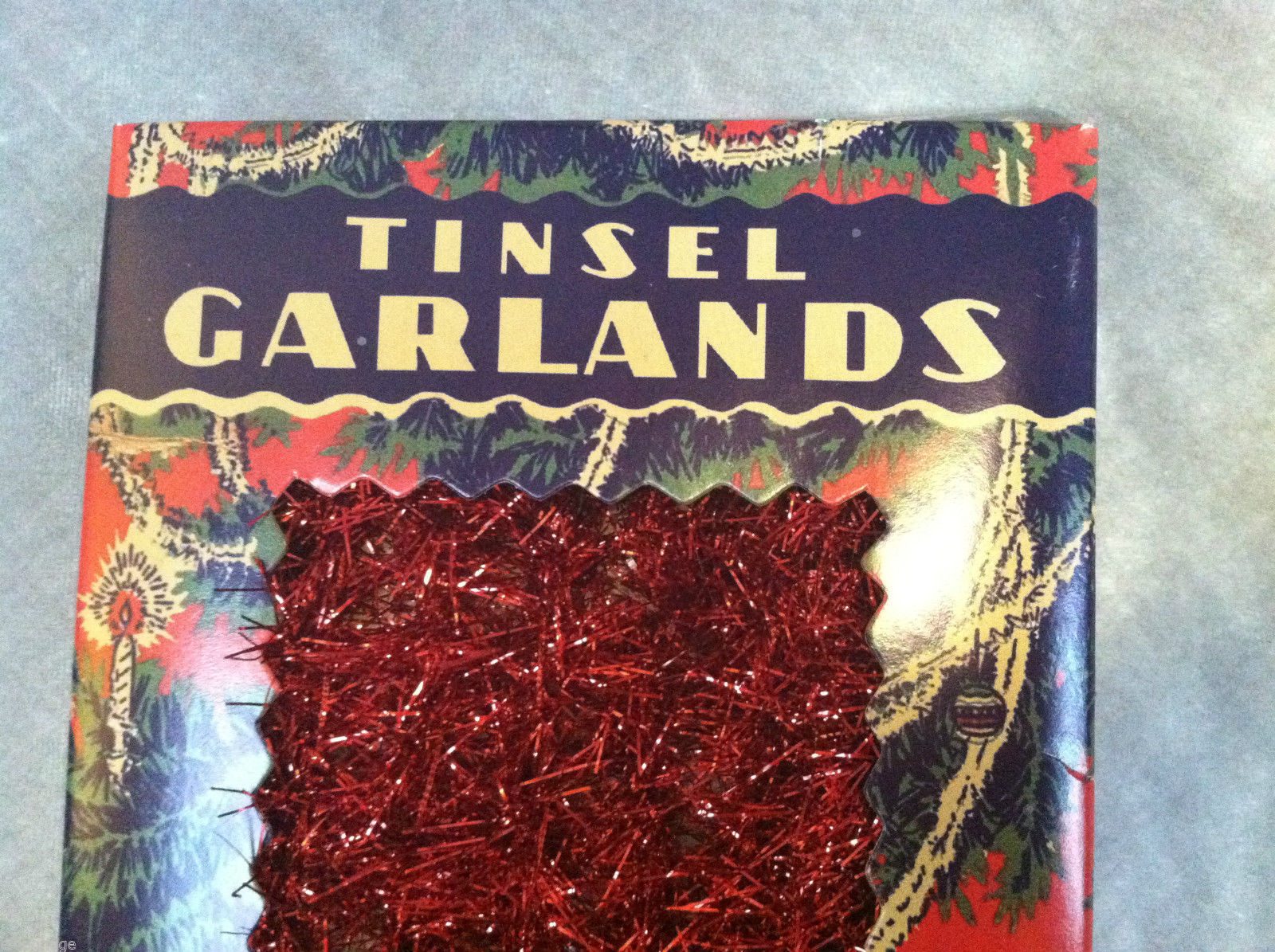 Red tinsel garland for christmas tree decoration ft