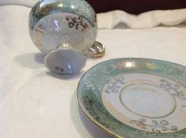 Antique cup saucer jade pedestal w scroll flourish gold trim National Potteries image 4
