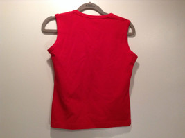 Red V Neck Sleeveless Top Size Small Niki Mason Graphic Shaped Heart on Front image 3