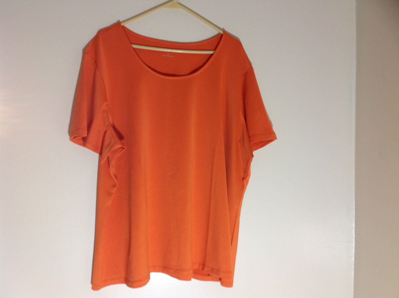 Susan Graver Orange Scoop Neck Short Sleeve Shirt Light Soft Material Size 3X