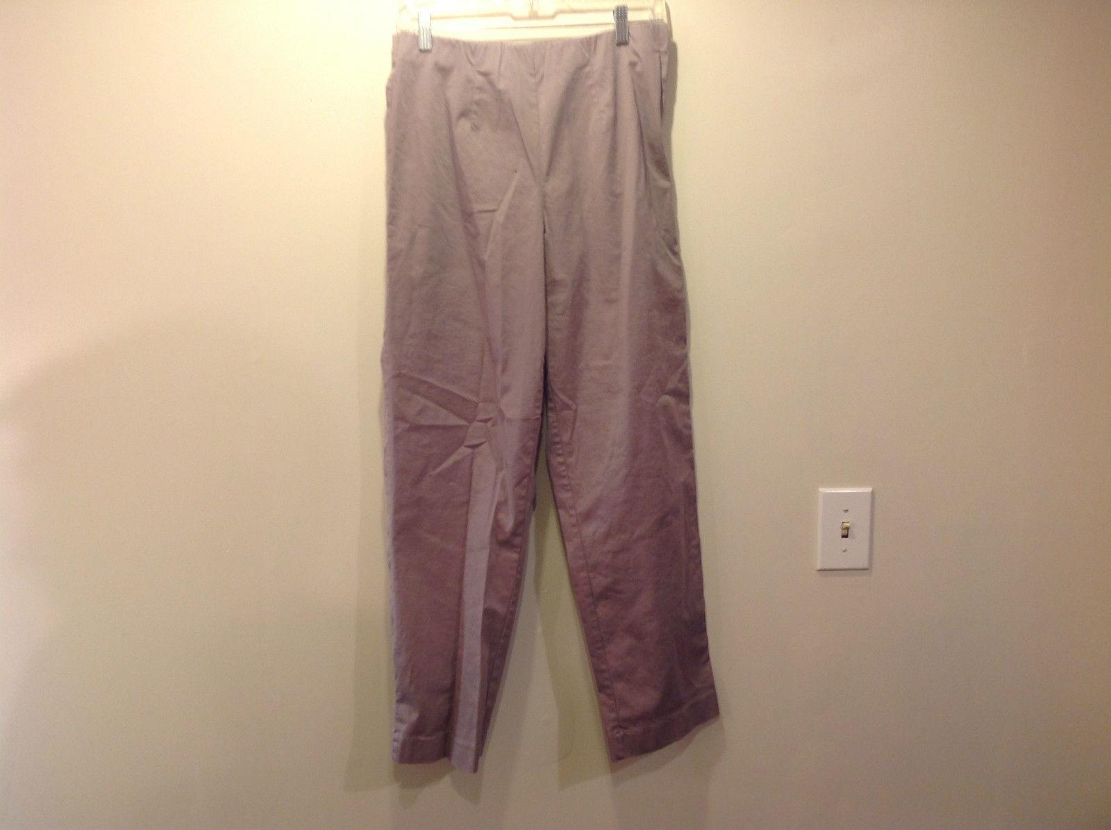 Susan Graver Style Lavender Casual Pants Size M Elastic Waist Side Zipper