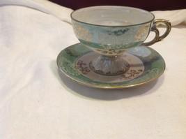 Antique cup saucer jade pedestal w scroll flourish gold trim National Potteries image 7