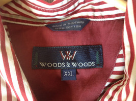 Red White Striped Button Up Front Pocket Shirt Woods and Woods Size XXL image 8